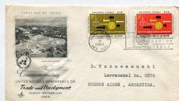 MATASELLO CONMMEMORATING UNITED NATIONS NACIONES UNIDAS NEW YORK 1964 SOBRE FDC CIRCULATED ARGENTINE -LILHU - New York - Hoofdkwartier Van De VN