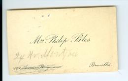 Carte De Visite Autographe Philip Bles Bruxelles - Cartes De Visite