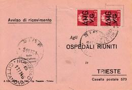 Trieste 1946 Postal Receipt Sent From Trieste (AMG VG, Zone A) To Zone B NOVIGRAD-CITTANOVA And BUJE-BUIE Postmarks - 7. Trieste