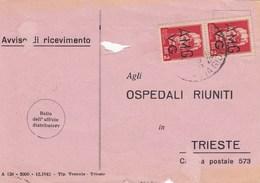 Trieste 1946 Postal Receipt Sent From Trieste (AMG VG, Zone A) To Zone B CITTANOVA D'ISTRIA   Postmark (Novigrad) - 7. Trieste