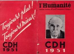 Carte CDH Comité De Défense Du Journal L'Humanité Parti Communiste 1951  Photo Marcel Cachin - Vieux Papiers