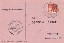 Trieste 1946 Postal Receipt Sent From Trieste (AMG VG, Zone A) To Zone B LABINCI Postmark - 7. Trieste