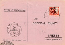 Trieste 1946 Postal Receipt Sent From Trieste (AMG VG, Zone A) To Zone B MOTOVUN - MONTONA Postmark - 7. Trieste