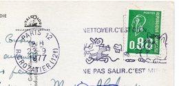 """Flamme  PARIS 12 -- 1977 -- """" NETTOYER C'EST BIEN , NE PAS SALIR C'EST MIEUX """" -chat -souris -chaumière Cochon - Marcophilie (Lettres)"""
