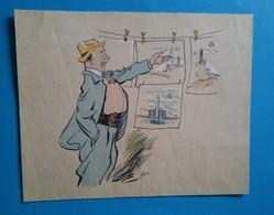 Litho Caricature Ancienne Homme, Dessin Par SEM. - Lithographies