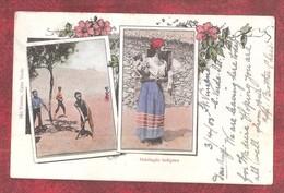 CRICKET COLOURED PC Of São Vicente Habitação Indígena Ethnique Ethnic Cabo Verde USED With Stamp - Cape Verde