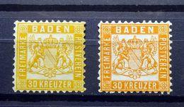 German States BADEN 1862-1865 SG38/Mi.22/Sc.#25  30k Orange Arms UNSHADED/WHITE BACKGROUND, Unused, 2 X Shades. - Bade