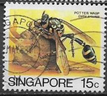 SINGAPORE  1985   SERIE ORDINARIA  INSETTI YVERT 457 USATO VF - Singapore (1959-...)