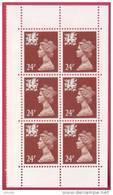 1992 GB Block Of 6 Wales Machin 24p Regionals UM / MNH SG W59 - Regional Issues