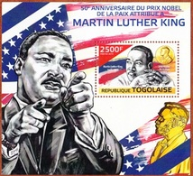 Togo, 50 Ann. Nobel Attribue A M.L.King, 2500F, 2014. Block MintNH - Togo (1960-...)