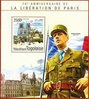 Togo, 70e Liberation De Paris,2500F, 2014- Block MintNH - Togo (1960-...)