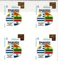 """Uruguay 2018 ** Bl4 """"Mi Sello"""" Encuentro Trinacional De Filatelia Uruguay - Bolivia - Paraguay. Banderas - Holograma. - Uruguay"""