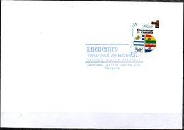 """Uruguay 2018 FDC """"Mi Sello"""" Encuentro Trinacional De Filatelia Uruguay - Bolivia - Paraguay. Banderas - Holograma. - Uruguay"""