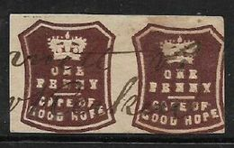 South Africa ,Cape Of Good Hope, 1864, 1d Brown Embossed, Pair   Used M/s - South Africa (...-1961)