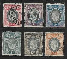 South Africa ,GVR, Small  Heads, 1937, 5 Stamps 6d To £1-, Used - Zuid-Afrika (...-1961)