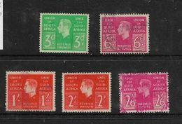 South Africa ,GViR, 1938 - 1942 Revenue Stamps 3d, 6d, 1/-, 2/-, 2/6 Used - Zuid-Afrika (...-1961)