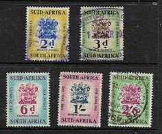 South Africa ,EIIR, 1954 -  6, 2d,, 3d, 6d, 1/=, 2/6 Revenue Stamps  Used - Zuid-Afrika (...-1961)