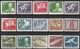 Sweden  1936   Sc#248-62   Set Of 15 MH  2016  Scott Value $115.35 - Sweden