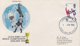 Enveloppe  FDC  1er  Jour   ENGLAND    Coupe  Du   Monde  De  Football   1966 - World Cup