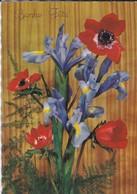 FLEURS----BONNE FETE--bouquet D'iris + Anémones---voir 2 Scans - Fleurs
