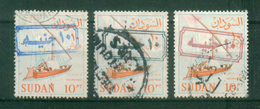 SUDAN / 1988 ? / SCOTT # 368C / MI # 432 V ( 1990 ) / 10 POUNDS OVER 10 PT IN BLUE - BLACK & RED / VF USED - Sudan (1954-...)