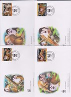 World Wide Fund For Nature 2007 Panama-Red Backed Squirrel Monkey ,Set 4 Official First Day Covers - FDC
