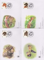 World Wide Fund For Nature 2007 Slovenia-red Squirrel  ,Set 4 Official First Day Covers - FDC