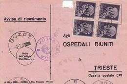 Trieste 1946 Postal Receipt Sent From Trieste (AMG VG, Zone A) To Zone B BUZET Postmark, Censored - 7. Trieste