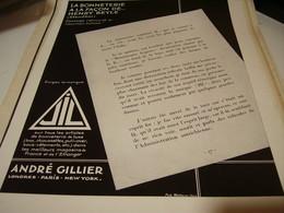 ANCIENNE PUBLICITE LA BONNETERIE FACON DE HENRY BEYLE DE JIL 1930 - Habits & Linge D'époque