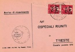 Trieste 1946 Postal Receipt Sent From Trieste (AMG VG, Zone A) To Zone B LABIN - ALBONA Postmark - 7. Trieste