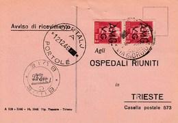 Trieste 1946 Postal Receipt Sent From Trieste (AMG VG, Zone A) To Zone B OPRTALJ-PORTOLE And BUJE-BUIE Postmarks - 7. Trieste