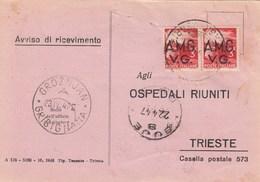 Trieste 1947 Postal Receipt Sent From Trieste (AMG VG, Zone A) To Zone B GROZNJAN - GRISIGNANA And BUJE-BUIE Postmarks. - 7. Trieste