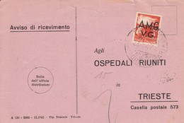 Trieste 1947 Postal Receipt Sent From Trieste (AMG VG, Zone A) To Zone B ILIRSKA BISTRICA Postmark - 7. Trieste