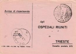 Trieste 1947 Postal Receipt Sent From Trieste (AMG VG, Zone A) To Zone B DEKANI Postmark - 7. Trieste