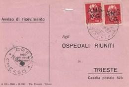 Trieste 1947 Postal Receipt Sent From Trieste (AMG VG, Zone A) To Zone B CRES - CHERSO Postmark - 7. Trieste