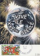 Carte  Maximum  1er  Jour   SAINT  PIERRE  Et   MIQUELON   Nouveau  Siécle  2001 - Cartes-maximum