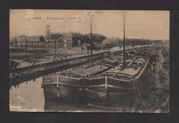CPA . Dépt.62. LENS .Panorama Sur Le Canal . Nonbreuses Péniches . - Lens