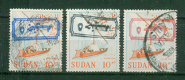 SUDAN / 1988 ? / SCOTT # 368 A / 5 POUNDS OVER 10 PT IN BLUE - BLACK & RED ( INVERTED ) / VF USED - Sudan (1954-...)