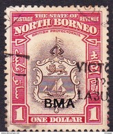 Malaysia-Sabah SG 332 1945 British Military Administration $ 1.00 Brown And Carmine Used - Sabah