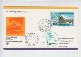 VENEZUELA  1976 - Yvert 918 - Annullo Speciale  Caracas - Lima - Aerei