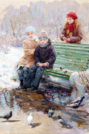 40.220 Postcard Modern Rare New Konstantin R. Children Feed Pigeons Winter - People