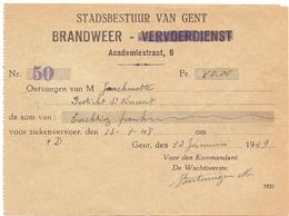 Wissel Reçu - Stad Gent Brandweer Ziekenvervoer - 1949 - Lettres De Change