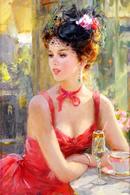 40.216 Postcard Modern Rare New Konstantin Razumov Girl In Red Dress In Cafe - People