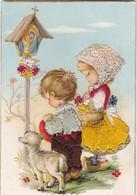 Magnifique Carte Brodée - Enfants Et Mouton - Brodées
