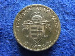 HUNGARY 5 PENGÖ 1938, KM516, Scratched - Hungary