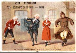 CHROMO  CH. UNGER CONFECTIONS POUR HOMMES DAMES PARIS  LA FILLE DU TAMBOUR-MAJOR  ACTE 3 LE PETIT CUCHER - Chromos