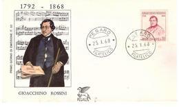 Fdc Pegaso:ROSSINI  (1968); No Viaggiata; AF_Pesaro - 6. 1946-.. Repubblica