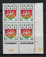 "FR Coins Datés YT 1185 "" Armoiries De Nantes "" Neuf** Du 7.11.58 - 1950-1959"