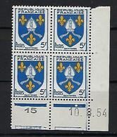 """FR Coins Datés YT 1005 """" Armoiries De Saintonge """" Neuf** Du 10.8.54 - 1950-1959"""