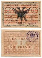 1917 // ALBANIE // 25 Mars 1917 // Un Franc - Albania